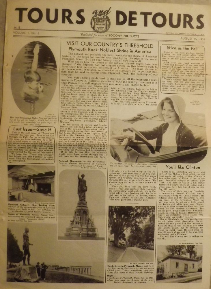 TOURS AND DETOURS. 1931 SOCONY OIL COMPANY NEWSPAPER.