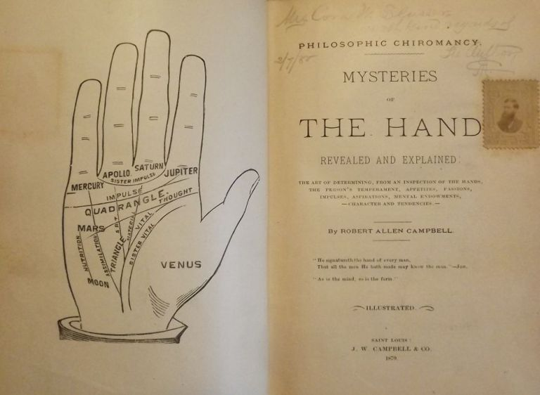 MYSTERIES OF THE HAND REVEALED AND EXPLAINED PALMISTRY PALM READING. Robert Allen CAMPBELL.