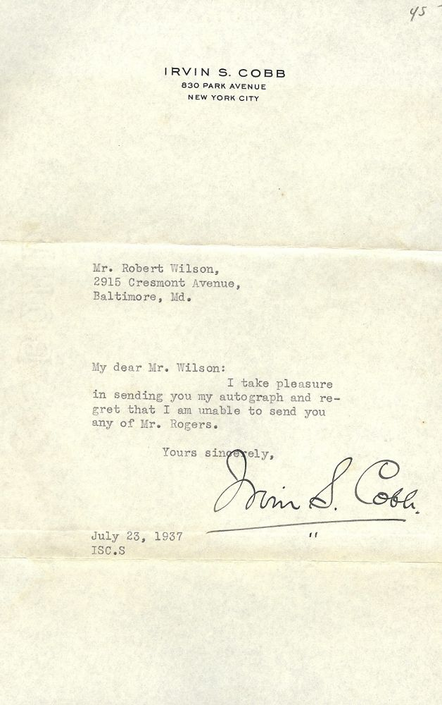 TYPED LETTER SIGNED. IRVIN S. COBB.
