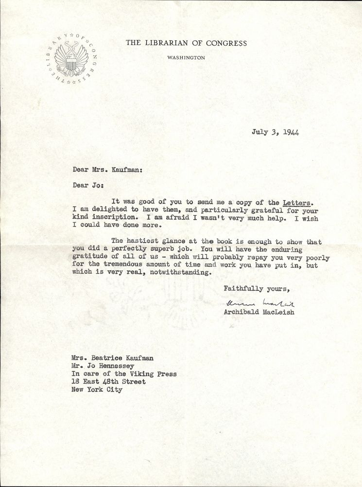 Typed Letter Signed. Archibald MACLEISH.