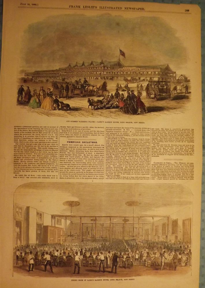 LONG BRANCH: LAIRD'S MANSION. FRANK LESLIE'S ILLUSTRATED NEWSPAPER.