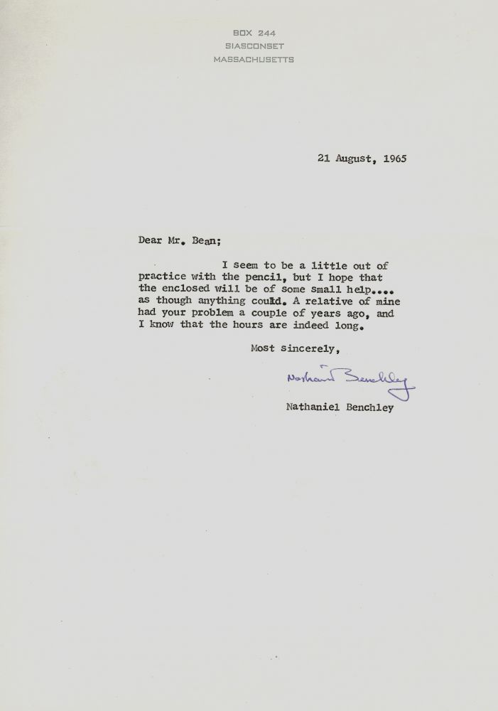 Typed Letter Signed. Nathaniel BENCHLEY.