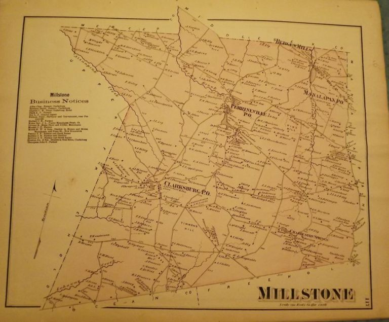 MILLSTONE TOWNSHIP MAP, 1873. F W. BEERS ATLAS OF MONMOUTH COUNTY.