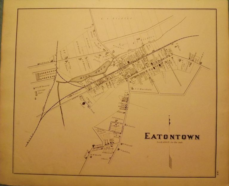 EATONTOWN MAP, 1878. WOOLMAN AND ROSE ATLAS OF THE NEW JERSEY COAST.