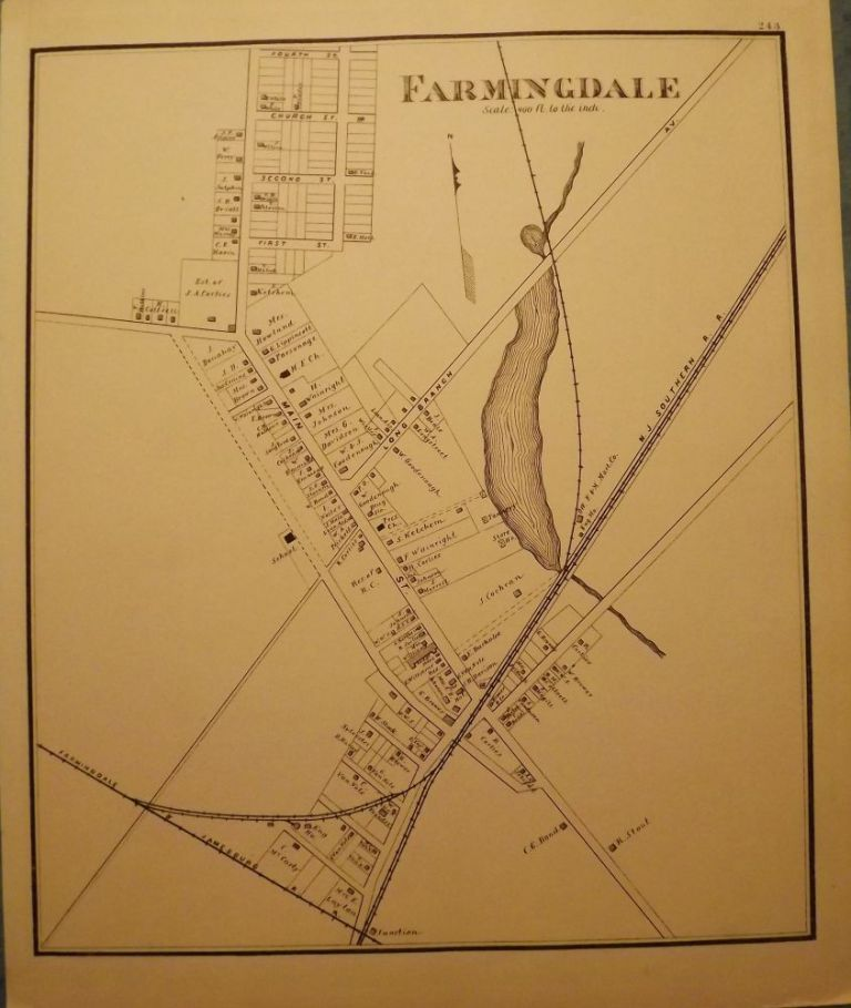 FARMINGDALE MAP, 1878. WOOLMAN AND ROSE ATLAS OF THE NEW JERSEY COAST.