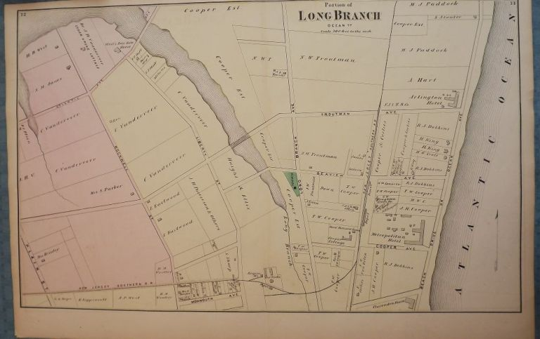 LONG BRANCH: 1873 MAP. F W. BEERS ATLAS OF MONMOUTH COUNTY.