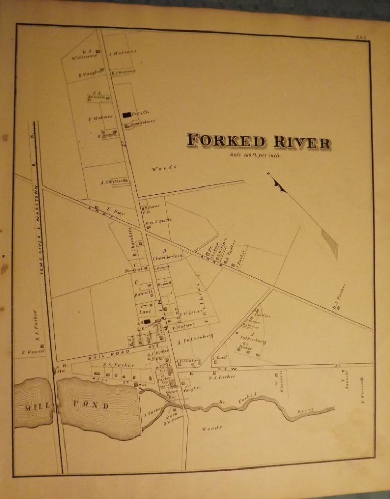 FORKED RIVER MAP, 1878. WOOLMAN AND ROSE ATLAS OF THE NEW JERSEY COAST.
