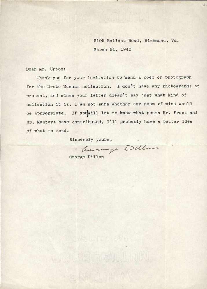 TYPED LETTER SIGNED. GEORGE DILLON.