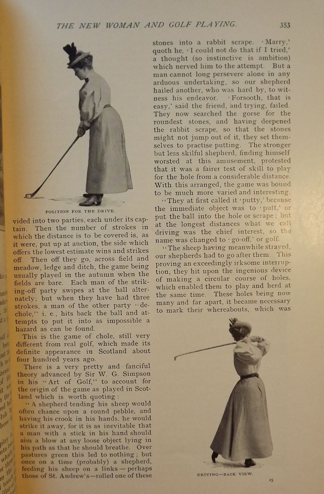 GOLF AND THE NEW WOMAN: In COSMOPOLITAN MAGAZINE, AUGUST 1896. Mrs. Reginald DE KOVEN.