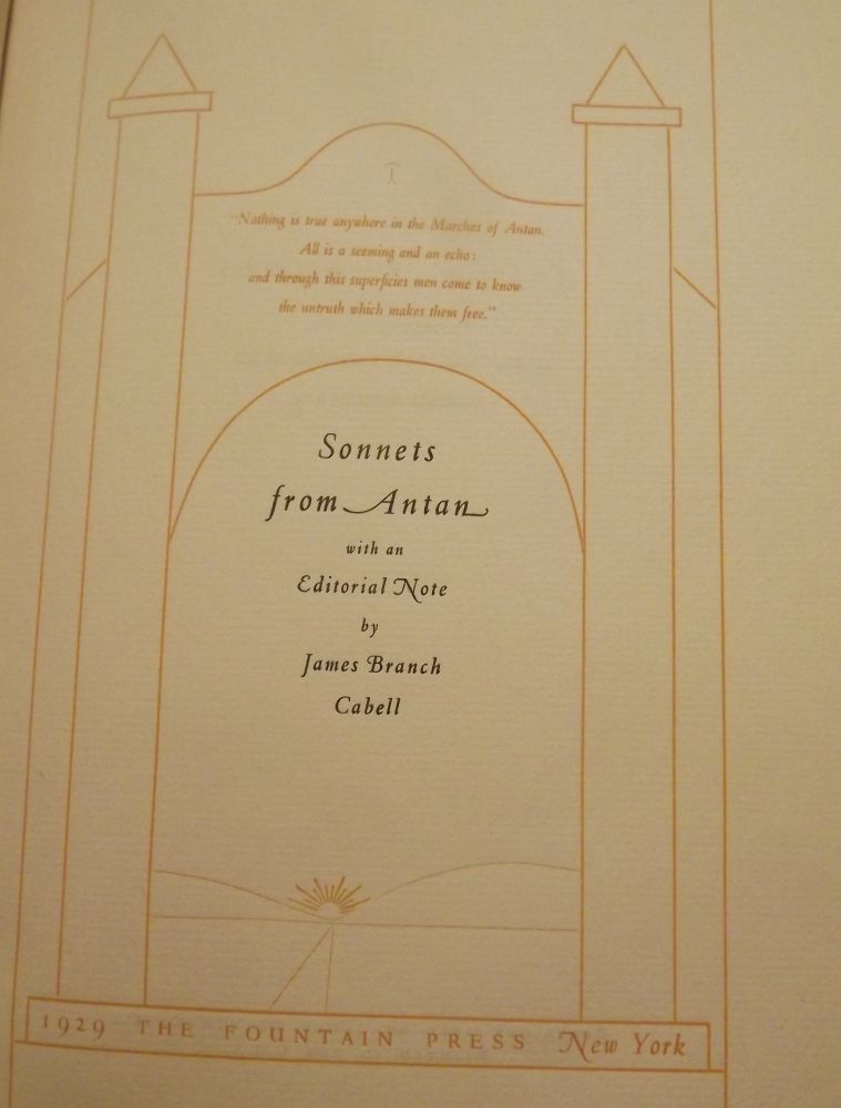 SONNETS FROM ANTAN. JAMES BRANCH CABELL.