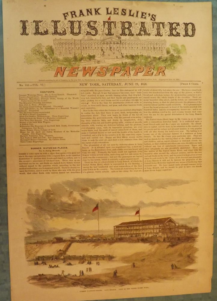 LONG BRANCH: SUMMER WATERING-PLACES. VIEW OF THE UNITED STATES HOTEL. FRANK LESLIE'S ILLUSTRATED NEWSPAPER.