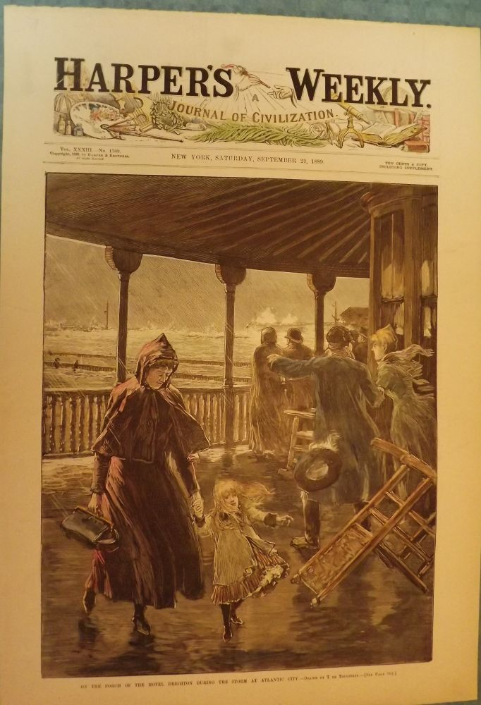 ATLANTIC CITY: STORM AT BRIGHTON HOTEL. HARPER'S WEEKLY.