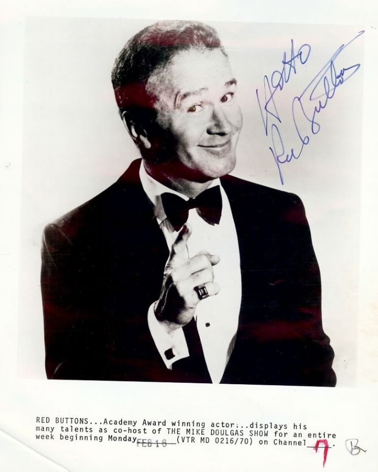 Signed Photograph. Red BUTTONS.