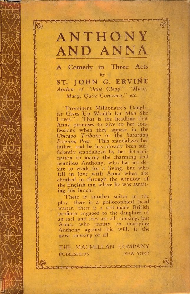 ANTHONY AND ANNA: A COMEDY IN THREE ACTS. St. John G. ERVINE.