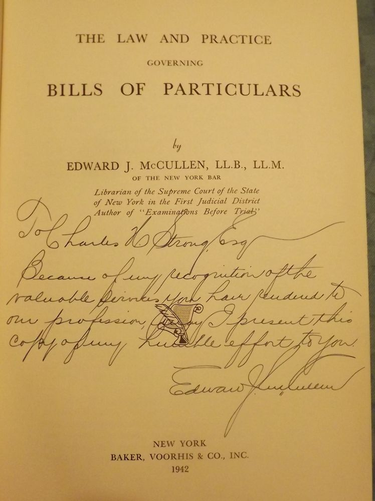 THE LAW AND PRACTICE GOVERNING BILLS OF PARTICULARS. Edward J. McCULLEN.