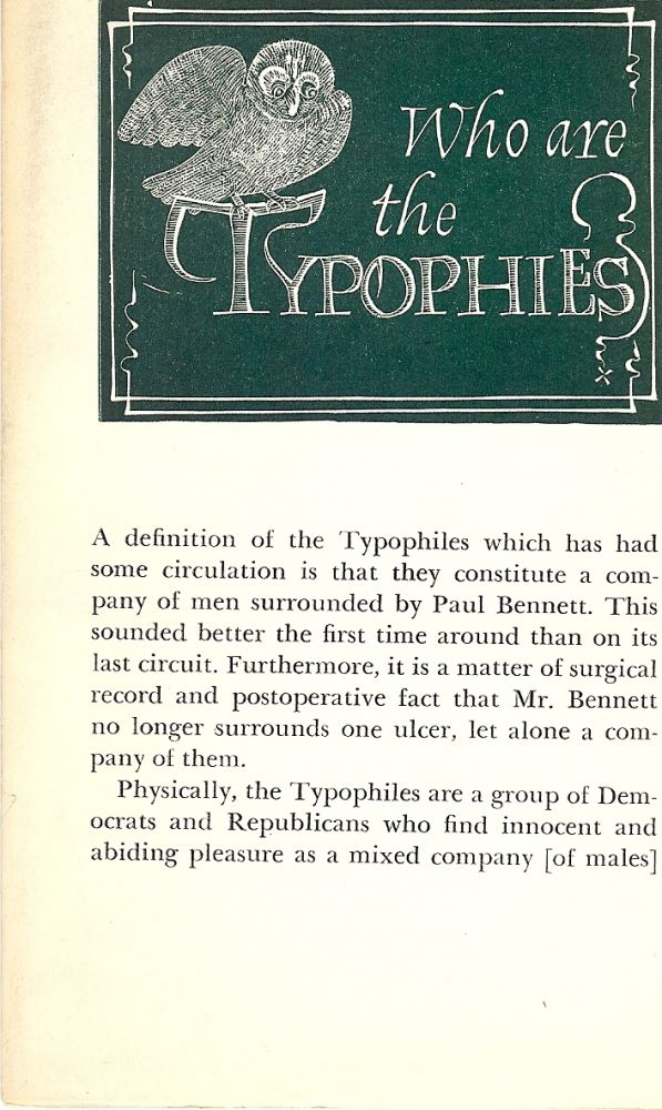 WHO ARE THE TYPOPHILES. TYPOPHILE MONGRAPH.