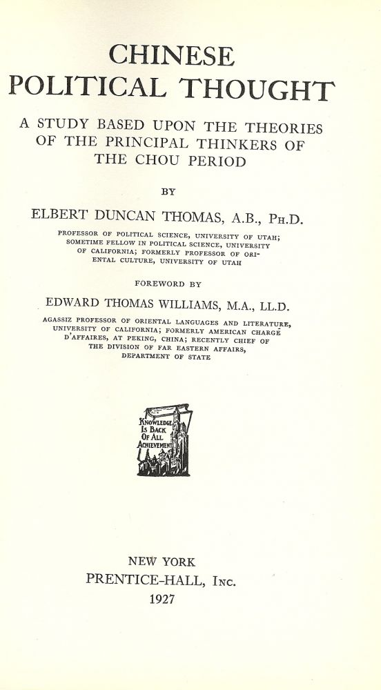 CHINESE POLITICAL THOUGHT. Elbert Duncan THOMAS.