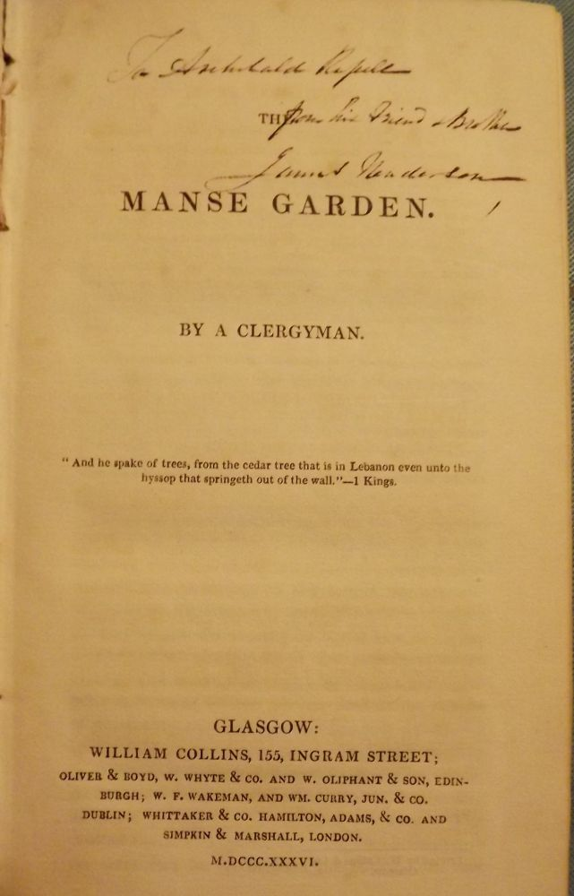 THE MANSE GARDEN. Nathaniel PATERSON.