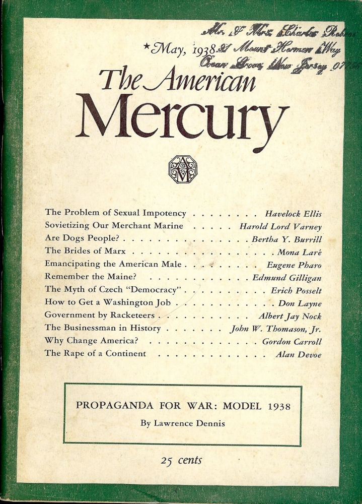 THE PROBLEM OF SEXUAL IMPOTENCY; In American Mercury; May, 1938. Havelock ELLIS.