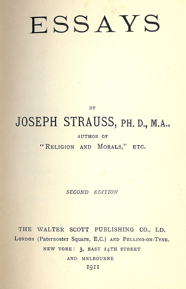 ESSAYS. Joseph STRAUSS.