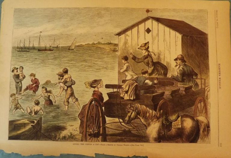 FIRE ISLAND, NY: GIVING THE CHICKS A DIP. HARPER'S WEEKLY.