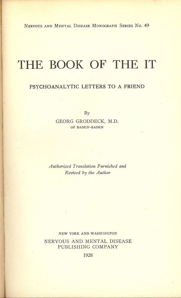 THE BOOK OF THE IT. Georg GRODDECK.
