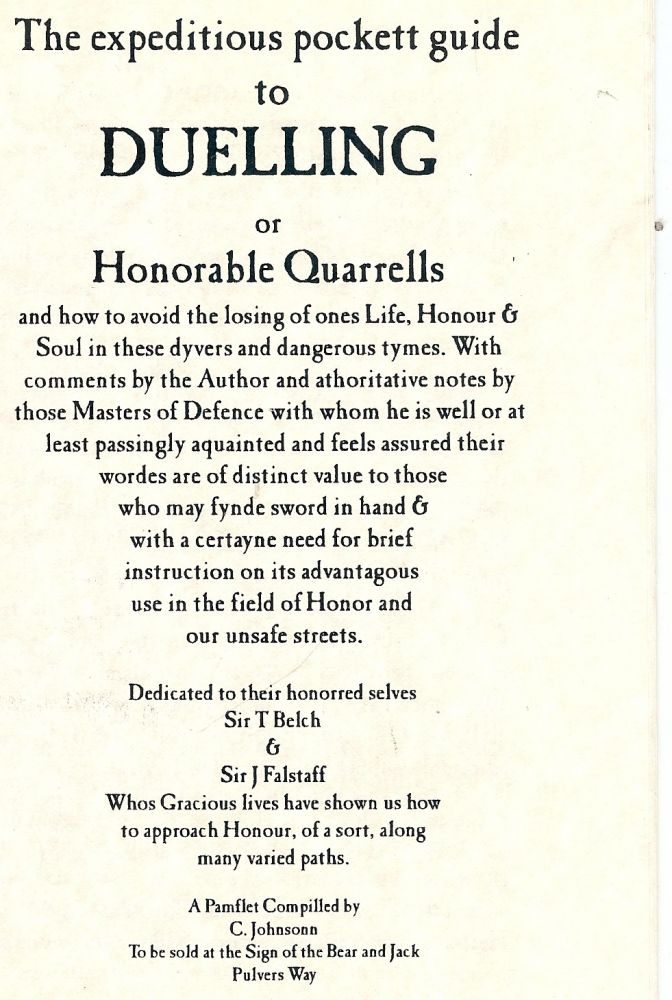 THE EXPEDITIOUS POCKETT GUIDE TO DUELLING OR HONORABLE QUARRELLS. C JOHNSONN.
