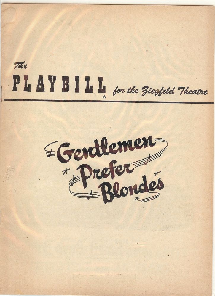 GENTLEMEN PREFER BLONDES PLAYBILL PROGRAM. Carol CHANNING.