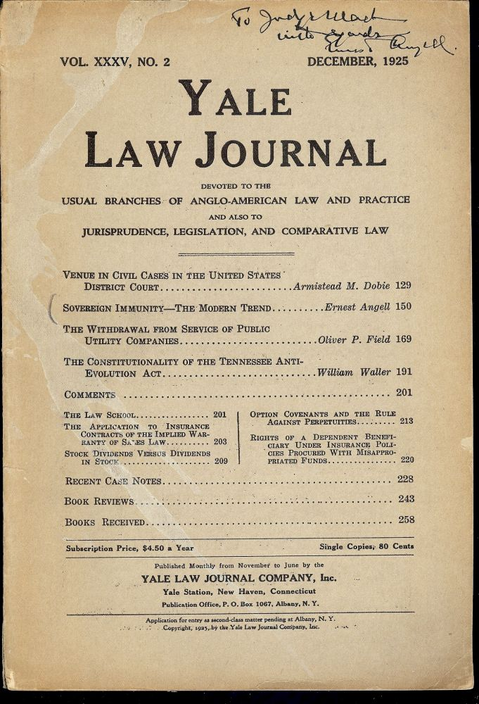 YALE LAW JOURNAL: DECEMBER, 1925. Ernest ANGELL.