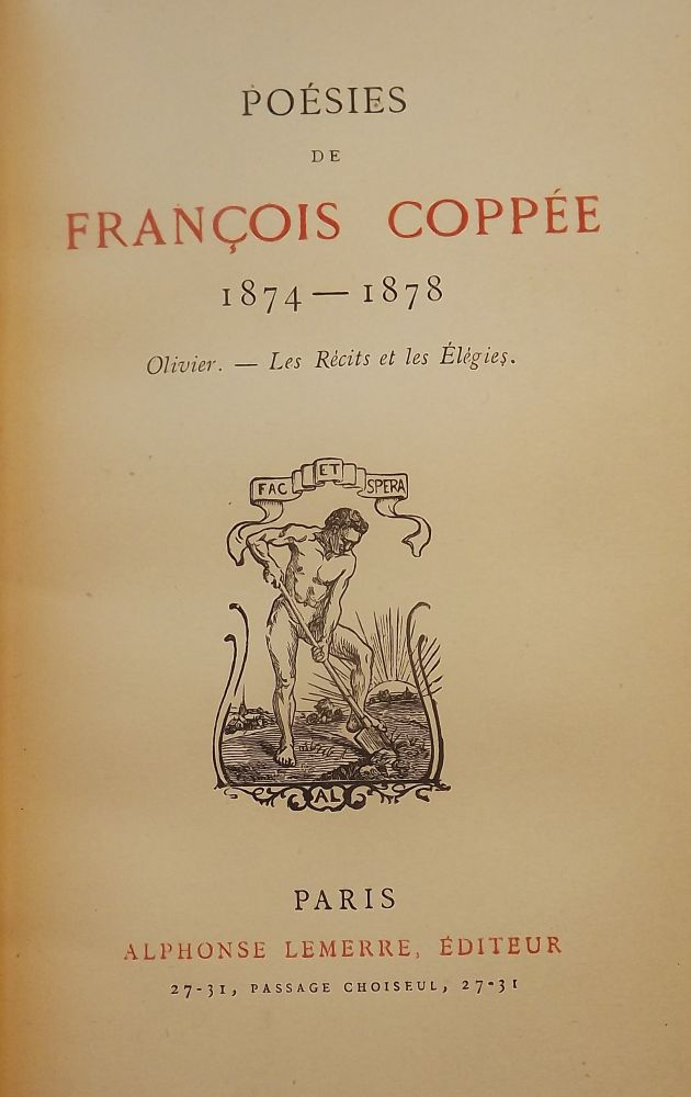 POESIES DE FRANCOIS COPPEE, 1864-1878 THREE VOLUMES. Francois COPPEE.