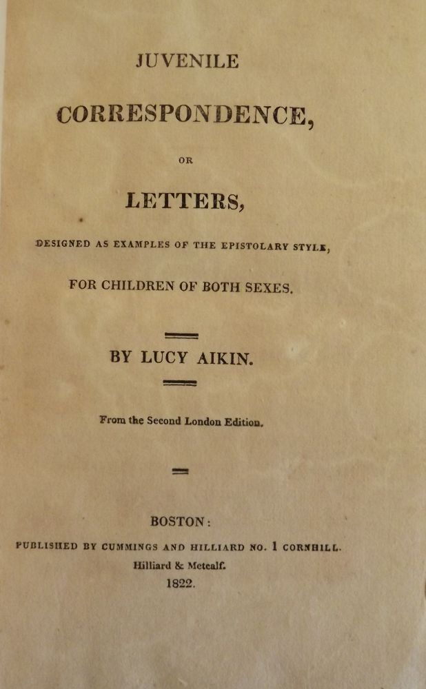 JUVENILE CORRESPONDENCE, OR LETTERS. Lucy AIKIN.