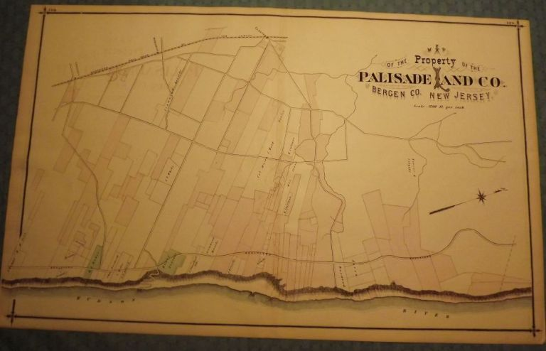 BERGEN COUNTY: PALISADES, PALISADES LAND COMPANY, HILLSDALE 1876 MAP. C. C. PEASE.