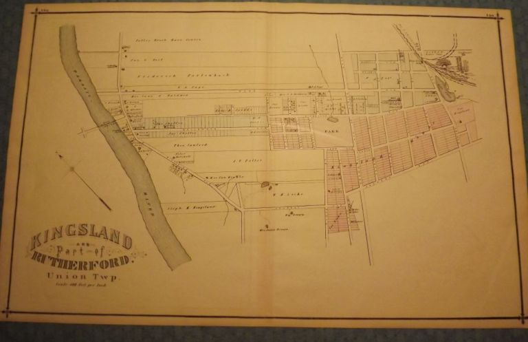 BERGEN COUNTY: KINGSLAND AND PART OF RUTHERFORD 1876 MAP. C. C. PEASE.