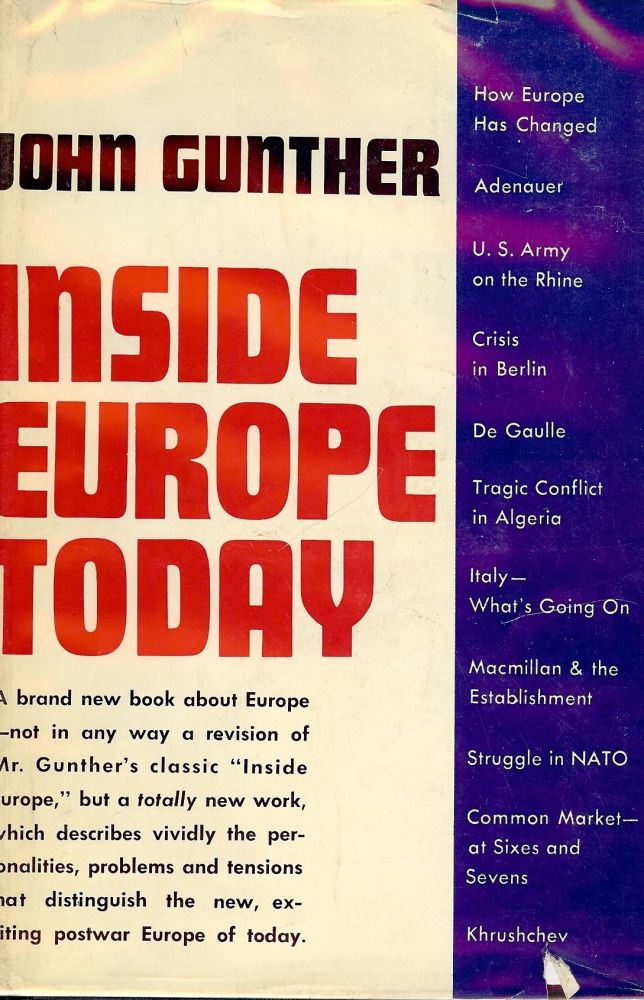 INSIDE EUROPE TODAY. John GUNTHER.