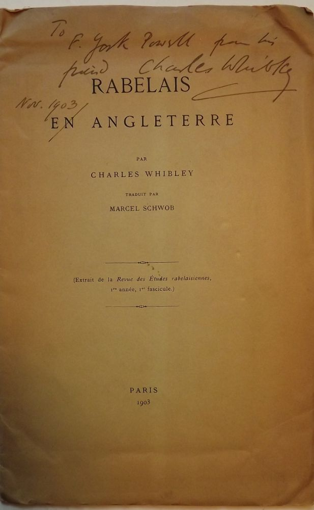 RABELAIS EN ANGLETERRE. Charles WHIBLEY.