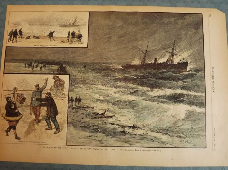 DEAL BEACH: WRECK OF THE PLINY. HARPER'S WEEKLY.