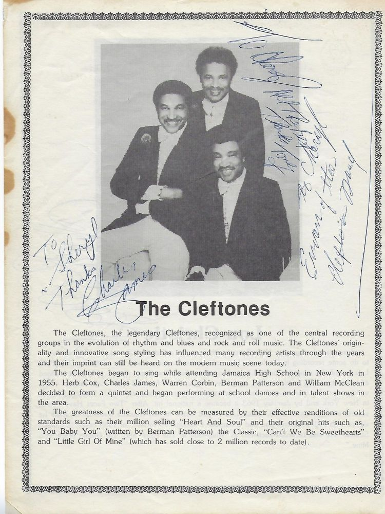 SIGNED PHOTOGRAPH OF THE CLEFTONS AND LOU CHRISTIE. THE CLEFTONES/ LOU CHRISTIE.