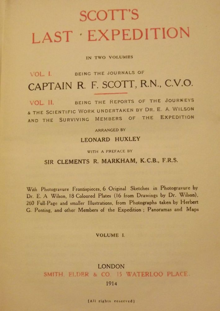 SCOTT'S EXPEDITION. In Two Volumes. , Captain R. F. SCOTT.
