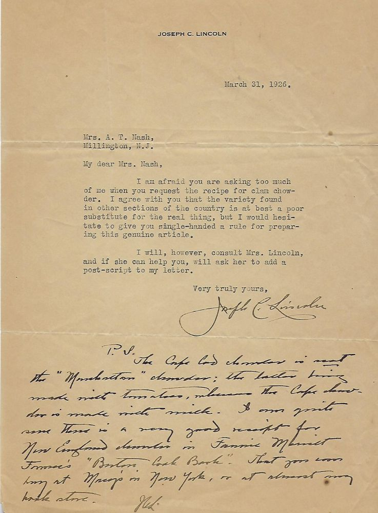 Typed Letter Signed With Personalized Notation. Joseph C. LINCOLN.