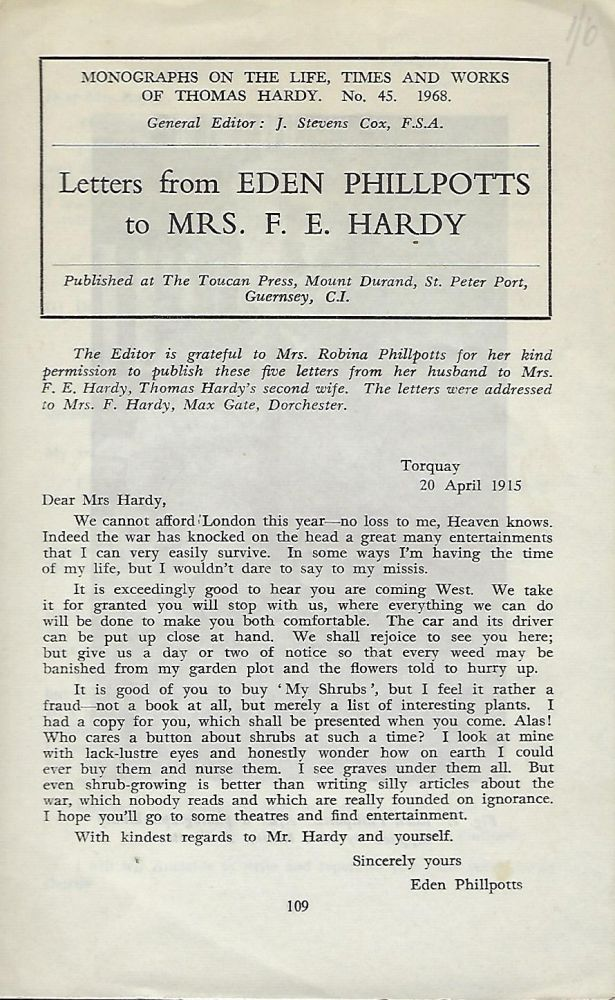 LETTERS FROM EDEN PHILLPOTTS TO MRS. F. E. HARDY. Eden PHILLPOTTS.