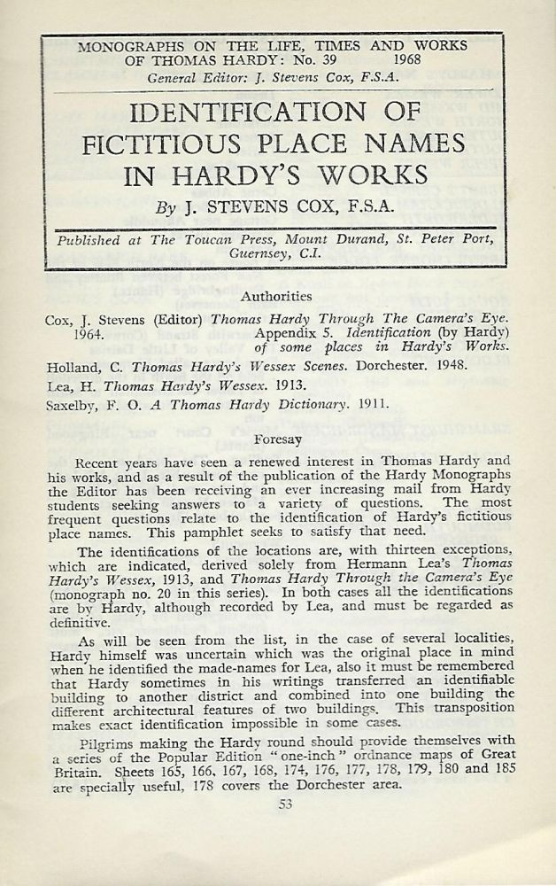 IDENTIFICATION OF FICTITIOUS PLACE NAMES IN HARDY'S WORKS. J. Stevens COX.