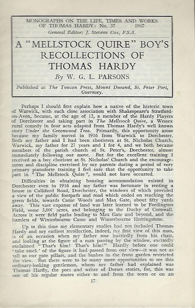 """A """"MELLSTOCK QUIRE"""" BOY'S RECOLLECTIONS OF THOMAS HARDY. W. G. L. PARSONS."""