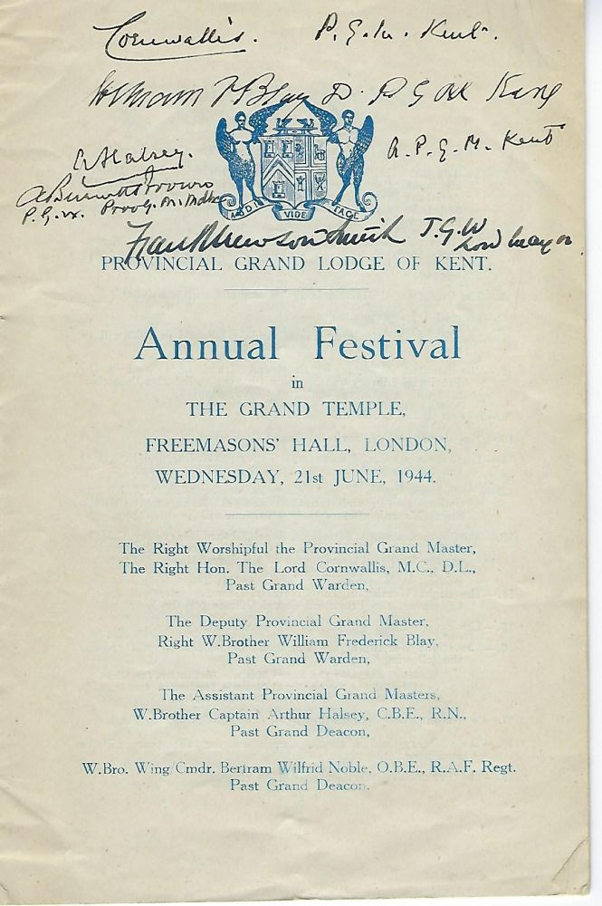 GRAND TEMPLE FREEMASONS HALL PROGRAM, LONDON, JUNE 21,1944. Lord CORNWALLIS, Wykeham Stanley.