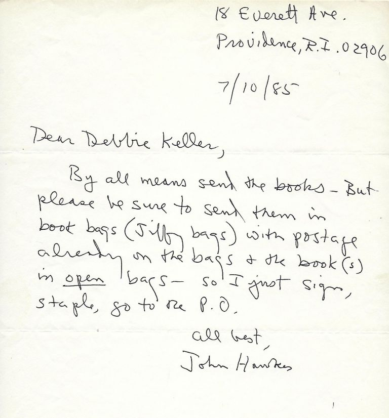 Autograph Letter Signed. John HAWKES.