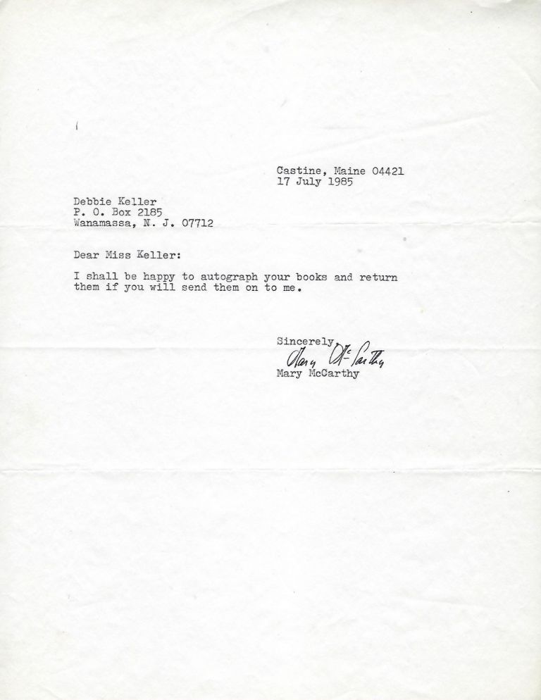 Typed Letter Signed. Mary McCARTHY.