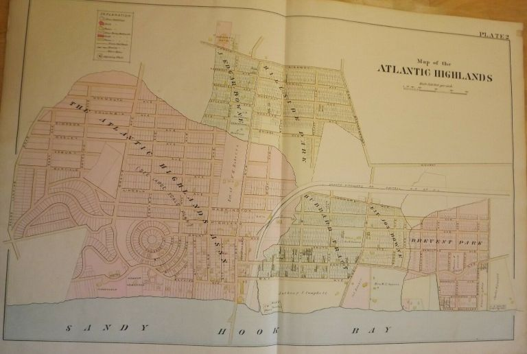 """ATLANTIC HIGHLANDS NJ MAP. FROM WOLVERTON'S ATLAS OF MONMOUTH COUNTY Wolverton's """"Atlas Of Monmouth County,"""" Chester WOLVERTON."""