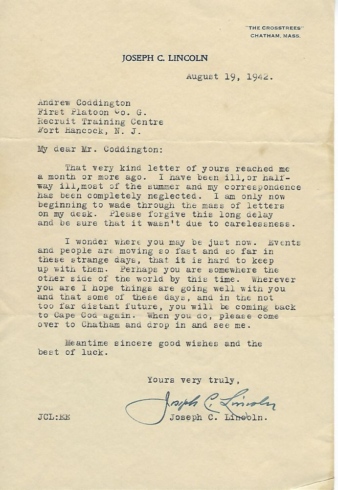 Typed Letter Signed- To A WW2 Soldier. Joseph C. LINCOLN.