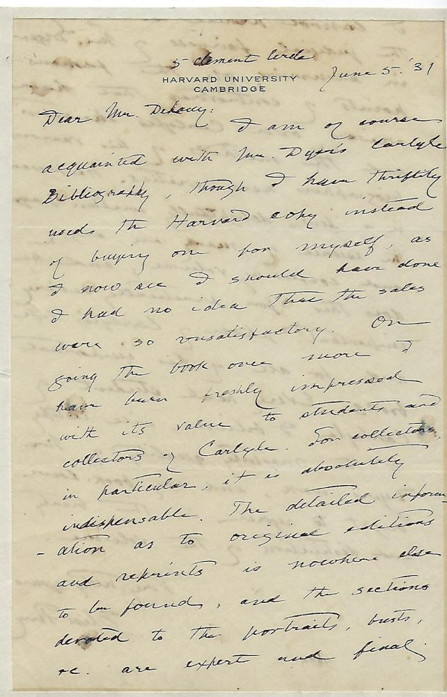Autograph Letter Signed, about Thomas Carlyle: two pages. Bliss PERRY.