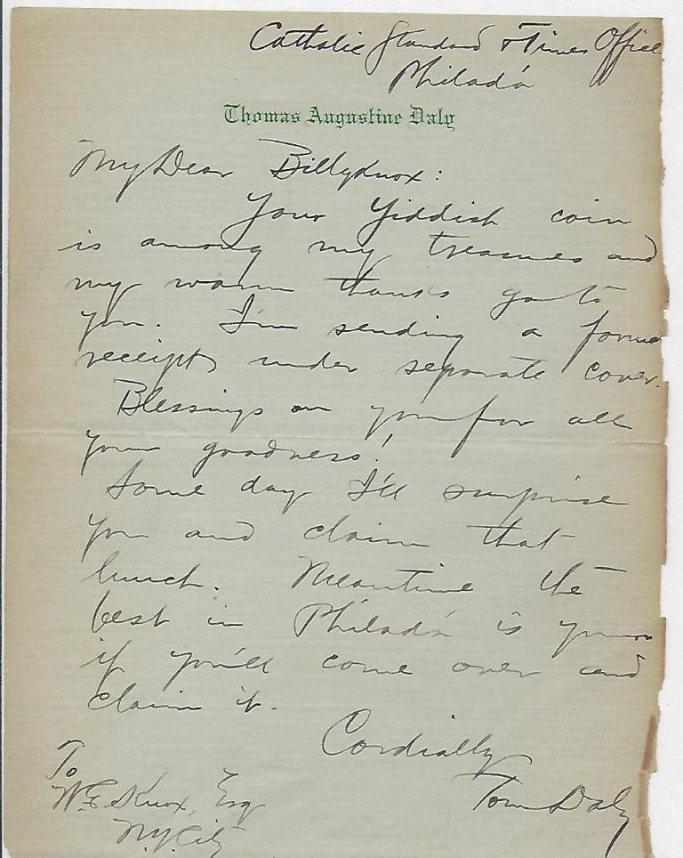 Autograph Letter Signed. Thomas Augustine DALY.