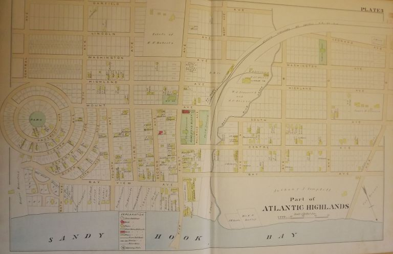 ATLANTIC HIGHLANDS NJ MAP. FROM WOLVERTON'S ATLAS OF MONMOUTH COUNTY. Chester WOLVERTON.